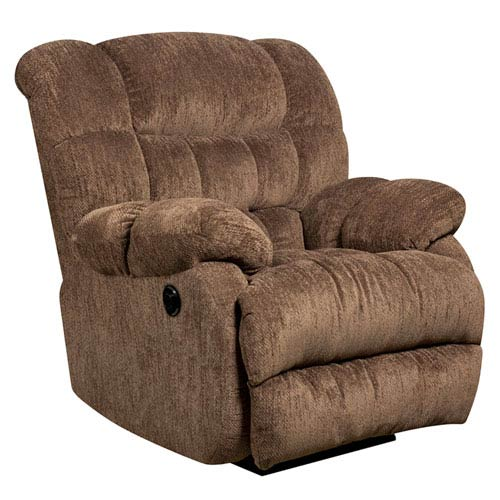 Parkside Contemporary Columbia Mushroom Microfiber Power Recliner with Push Button