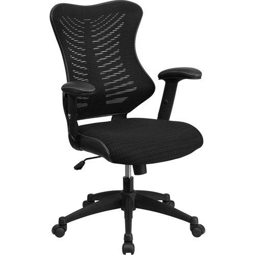 Parkside High Back Black Designer Mesh Executive Swivel Office Chair with Mesh Padded Seat