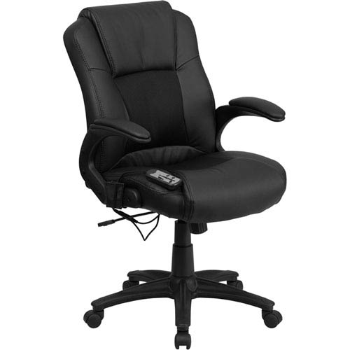 Parkside Massaging Black Leather Executive Swivel Office Chair