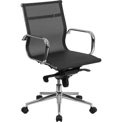 Parkside Mid-Back Black Mesh Executive Swivel Office Chair with Synchro-Tilt Mechanism