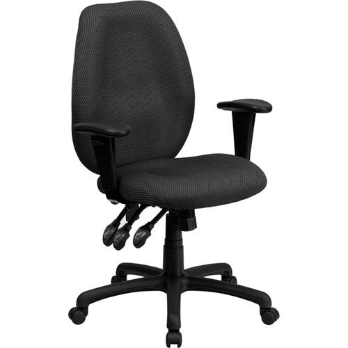 High Back Gray Fabric Multi-Functional Ergonomic Executive Swivel Office Chair with Height Adjustable Arms