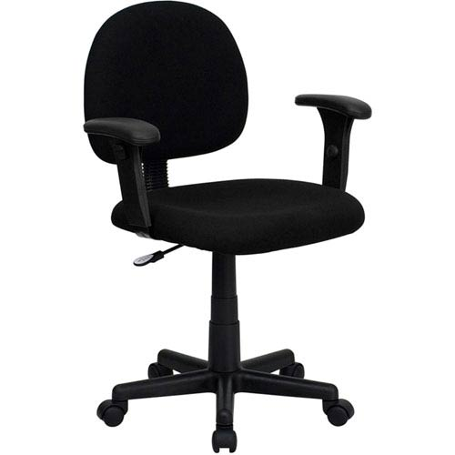 Parkside Low Back Ergonomic Black Fabric Swivel Task Chair with Height Adjustable Arms