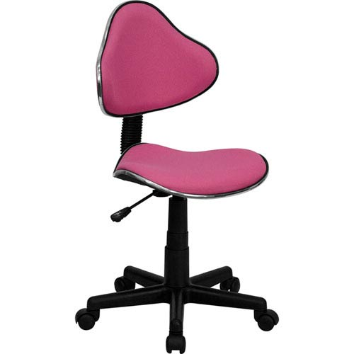 Pink Fabric Ergonomic Swivel Task Chair