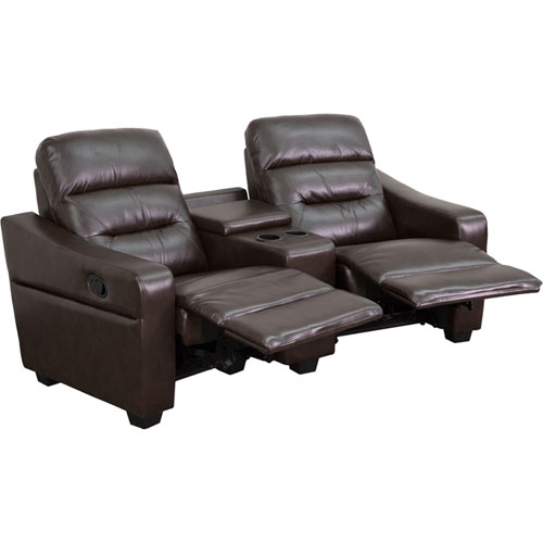 Parkside Fulton 2-Seat Reclining Brown Leather Theater Seating Unit with Cup Holders