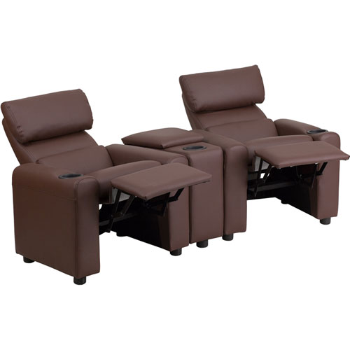 Kids Brown Leather Reclining Theater Seating with Storage Console