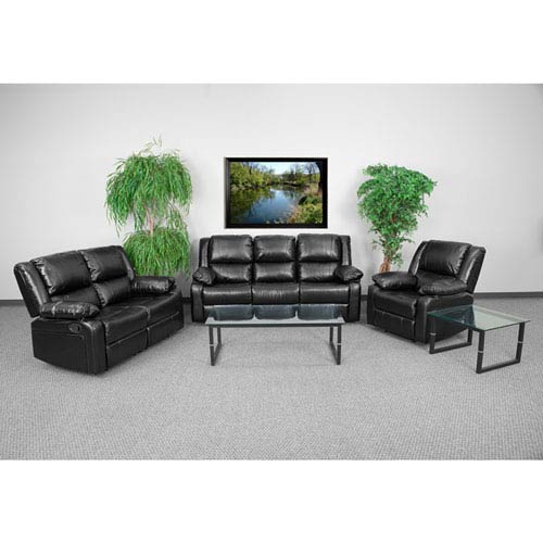Harmony Black Leather Reclining Sofa Set
