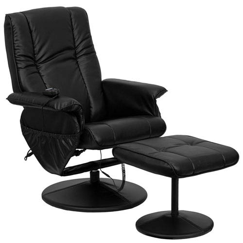 Parkside Massaging Black Leather Recliner and Ottoman with Leather Wrapped Base