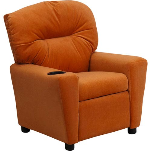 Parkside Contemporary Orange Microfiber Kids Recliner With Cup