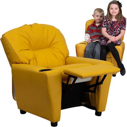 Parkside Contemporary Yellow Vinyl Kids Recliner With Cup Holder Bt