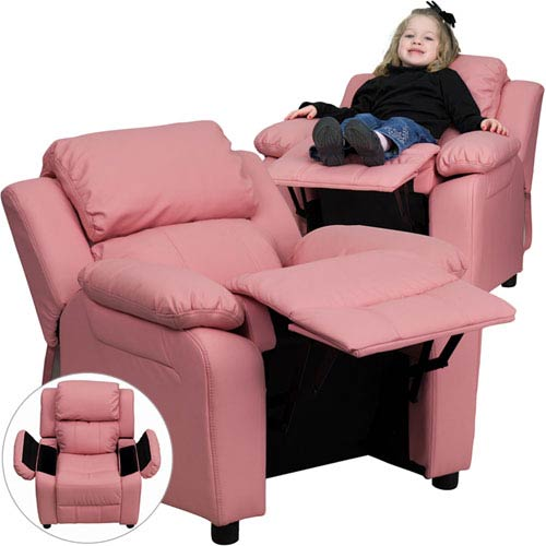 Parkside Deluxe Padded Contemporary Pink Vinyl Kids Recliner with Storage Arms