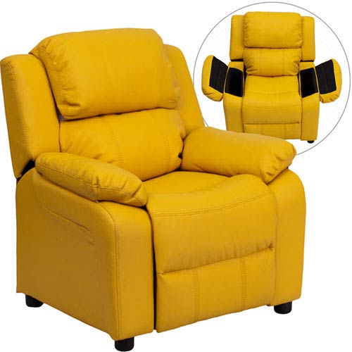 Parkside Deluxe Padded Contemporary Yellow Vinyl Kids Recliner With Storage  Arms