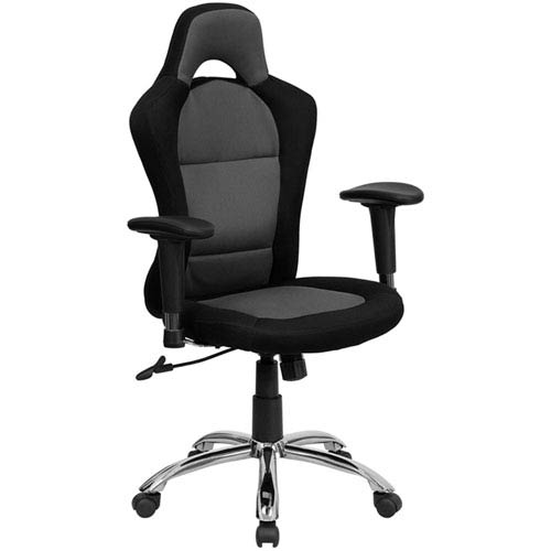 Parkside Race Car Inspired Bucket Seat Swivel Task Chair in Gray and Black Mesh