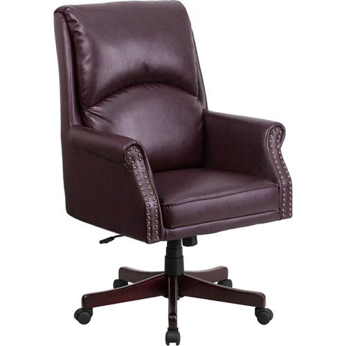 Parkside High Back Pillow Back Burgundy Leather Executive Swivel Office Chair