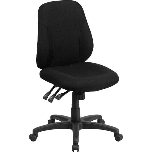 Mid-Back Black Fabric Multi-Functional Ergonomic Swivel Task Chair