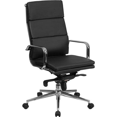Parkside High Back Black Leather Executive Swivel Office Chair with Synchro-Tilt Mechanism