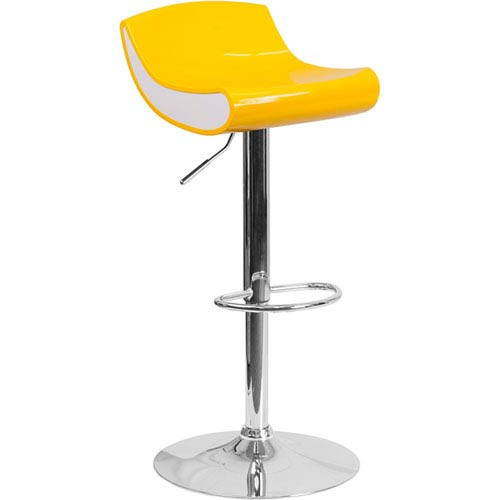 Parkside Contemporary Yellow and White Adjustable Height Plastic Barstool with Chrome Base