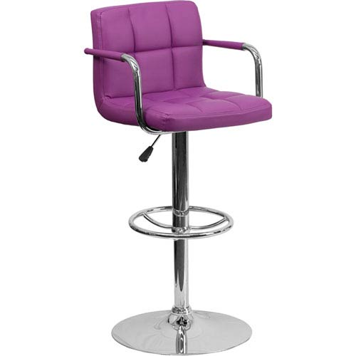 Parkside Contemporary Purple Quilted Vinyl Adjustable Height Barstool with Arms and Chrome Base