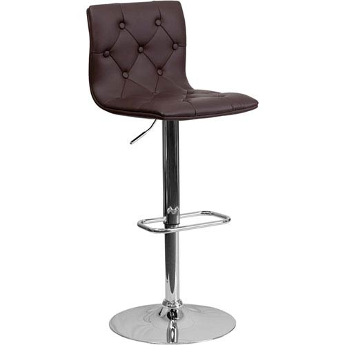 Parkside Contemporary Tufted Brown Vinyl Adjustable Height Barstool with Chrome Base