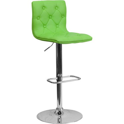 Parkside Contemporary Tufted Green Vinyl Adjustable Height Barstool with Chrome Base