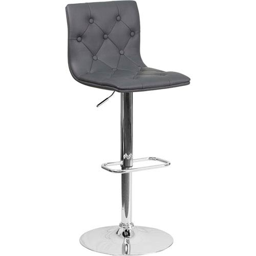 Parkside Contemporary Tufted Gray Vinyl Adjustable Height Barstool with Chrome Base