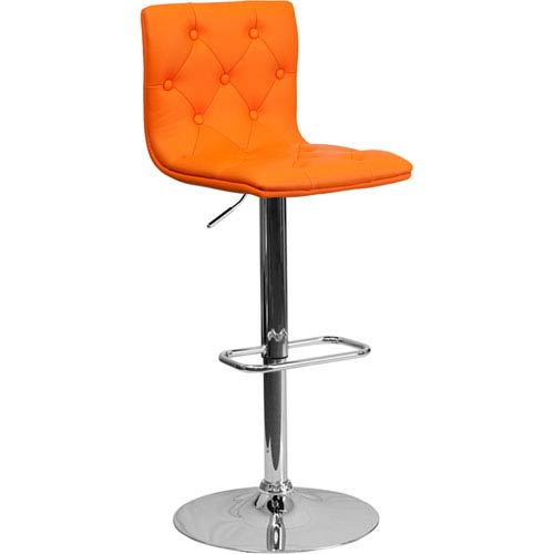 Parkside Contemporary Tufted Orange Vinyl Adjustable Height Barstool with Chrome Base