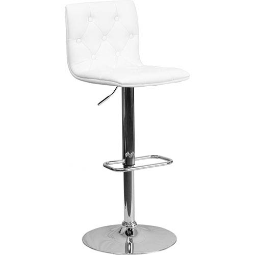 Parkside Contemporary Tufted White Vinyl Adjustable Height Barstool with Chrome Base