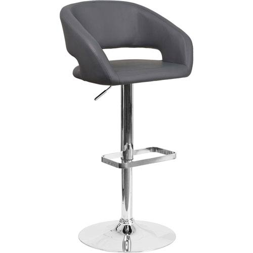 Parkside Contemporary Gray Vinyl Adjustable Height Barstool with Chrome Base