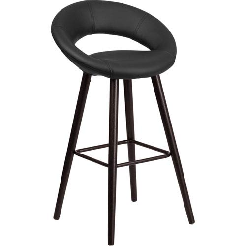 Parkside Kensy 29 In. High Contemporary Black Vinyl Barstool with Cappuccino Wood Frame