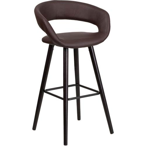 Brielle Series 29 In. High Contemporary Brown Vinyl Barstool with Cappuccino Wood Frame