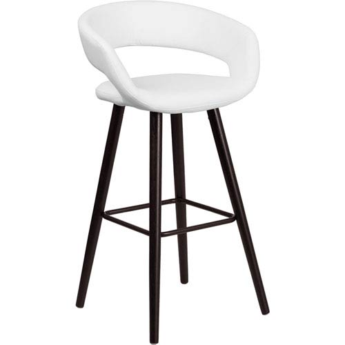 Brielle Series 29 In. High Contemporary White Vinyl Barstool with Cappuccino Wood Frame