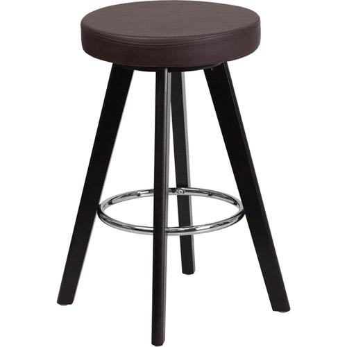 Parkside Tyler 24 In. High Contemporary Brown Vinyl Counter Height Stool with Cappuccino Wood Frame