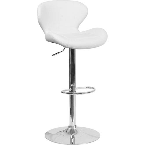 Parkside Contemporary White Vinyl Adjustable Height Barstool with Chrome Base