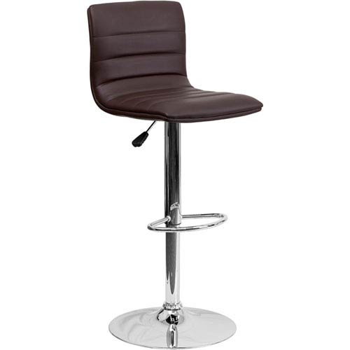 Parkside Contemporary Brown Vinyl Adjustable Height Barstool with Chrome Base