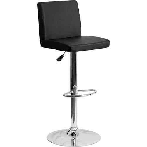 Parkside Contemporary Black Vinyl Adjustable Height Barstool with Chrome Base