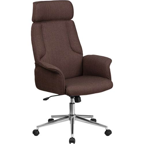 Parkside High Back Brown Fabric Executive Swivel Office Chair With Chrome Base