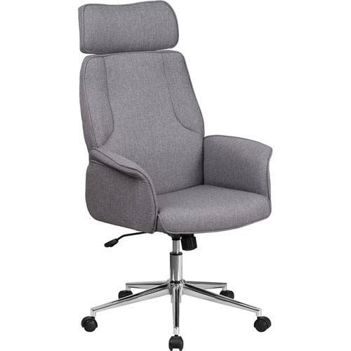 Parkside High Back Gray Fabric Executive Swivel Office Chair with Chrome Base
