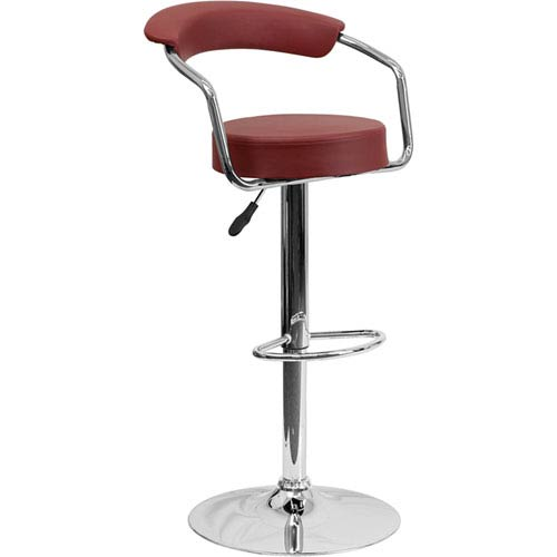 Parkside Contemporary Burgundy Vinyl Adjustable Height Barstool With Arms  And Chrome Base