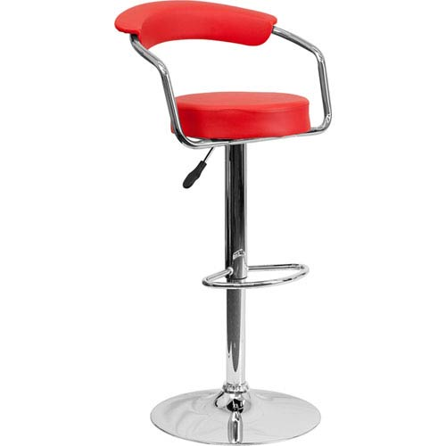Parkside Contemporary Red Vinyl Adjustable Height Barstool with Arms and Chrome Base