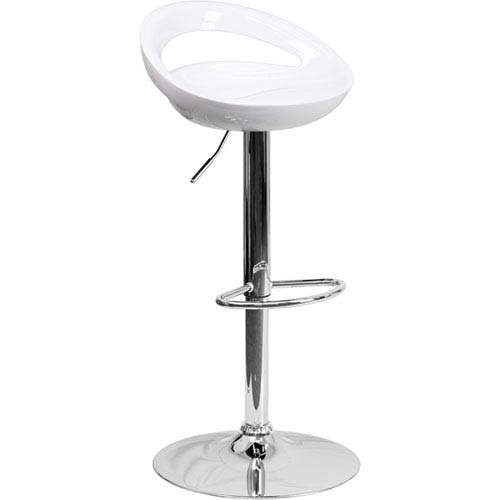 Contemporary White Plastic Adjustable Height Barstool with Chrome Base