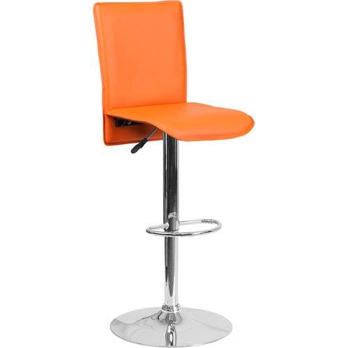 Parkside Contemporary Orange Vinyl Adjustable Height Barstool with Chrome Base