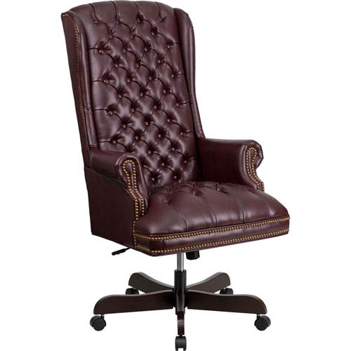 Parkside High Back Traditional Tufted Burgundy Leather Executive Swivel Office Chair