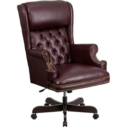 High Back Traditional Tufted Burgundy Leather Executive Swivel Office Chair