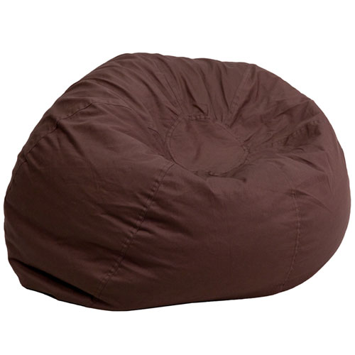 Oversized Solid Brown Bean Bag Chair