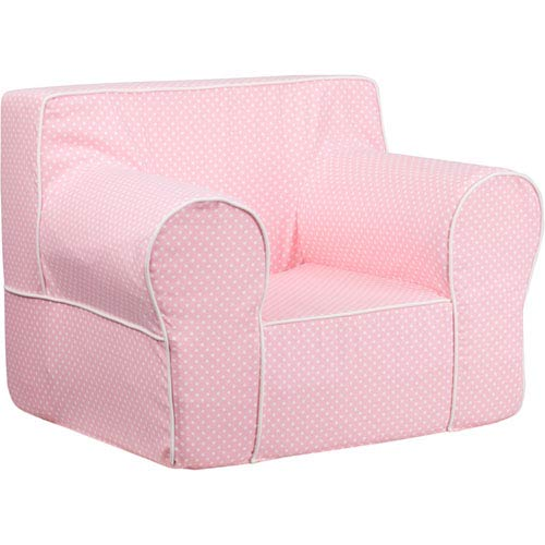 Parkside Oversized Light Pink Dot Kids Chair With White Piping