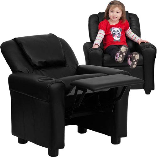 Parkside Contemporary Black Leather Kids Recliner with Cup Holder and Headrest