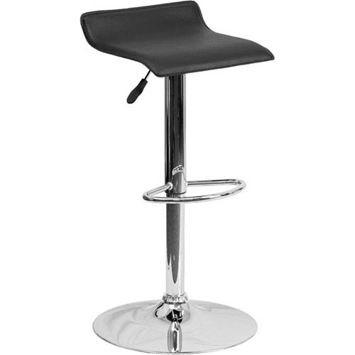Contemporary Black Vinyl Adjustable Height Barstool with Chrome Base
