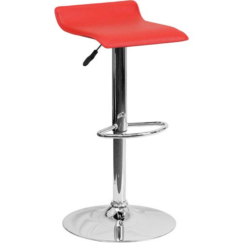 Parkside Contemporary Red Vinyl Adjustable Height Barstool with Chrome Base