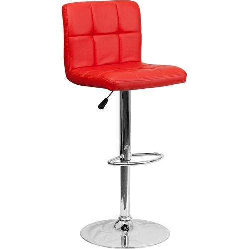 Contemporary Red Quilted Vinyl Adjustable Height Barstool with Chrome Base
