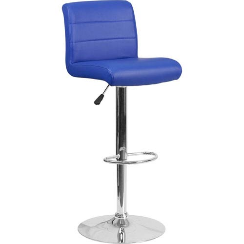 Contemporary Blue Vinyl Adjustable Height Barstool with Chrome Base