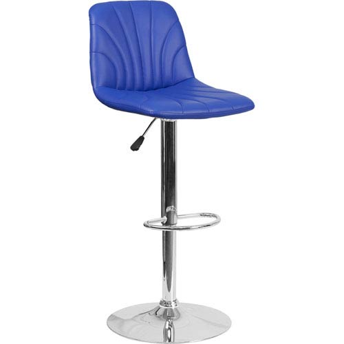 Parkside Contemporary Blue Vinyl Adjustable Height Barstool with Chrome Base